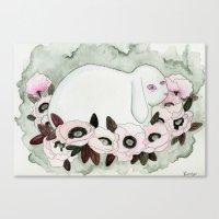 White Rabbit, Pink Poppies Canvas Print
