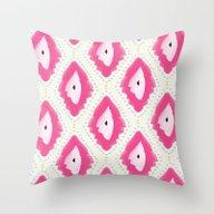 Pink Boho Style Ikat Pat… Throw Pillow