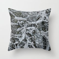 Snow Collecting Branches Throw Pillow