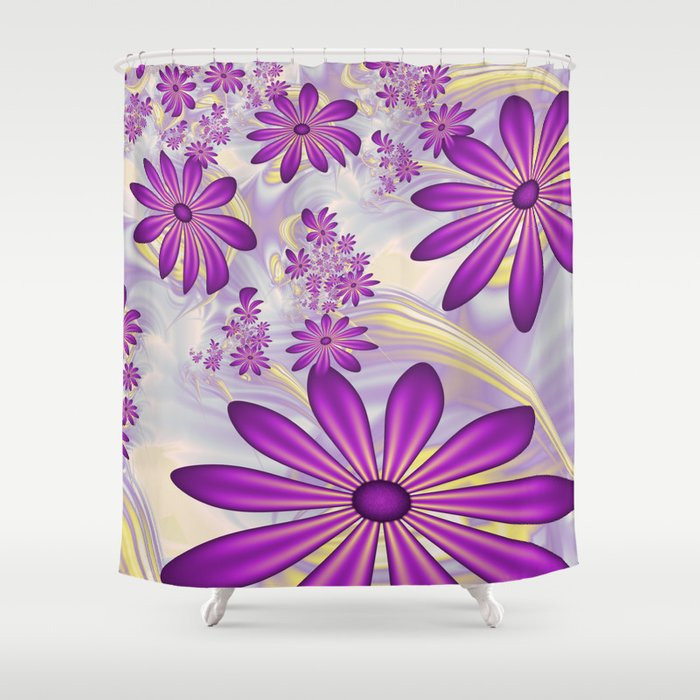 fractal dancing purple flowers shower curtain by gabiw art