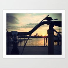 2 wheels to sunset Art Print