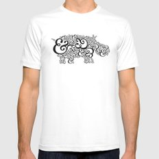 Ampersand Hippo Mens Fitted Tee White SMALL