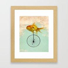unicycle goldfish Framed Art Print