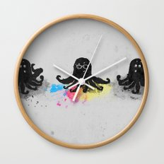 4-color squid Wall Clock