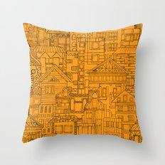 Houses - orange Throw Pillow