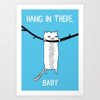 baby Art Prints featuring Hang in There, Baby by gemma correll