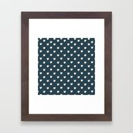 Navy Cats Pattern Framed Art Print