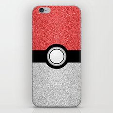Sparkly red and silver sparkles poke ball iPhone & iPod Skin