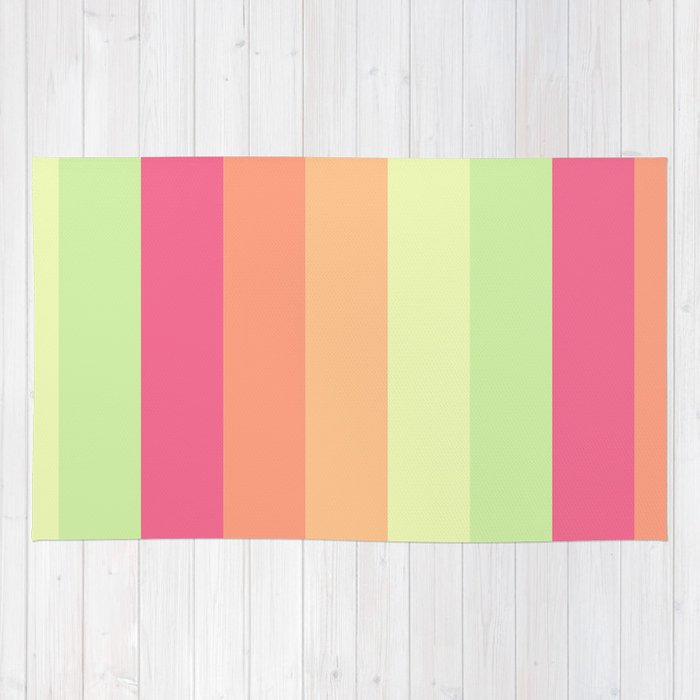 Pastel Orange Pink Green Stripes Summer Pattern Rug by ...