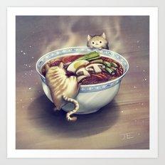 Cats and Ramen Soup Art Print