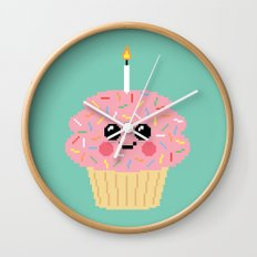 Happy Pixel Cupcake Wall Clock