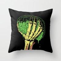 Zombie Skeleton Brain Vintage Throw Pillow