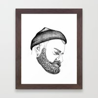 CAP & BEARD Framed Art Print