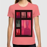 Sunset Silhouette  Womens Fitted Tee Pomegranate SMALL