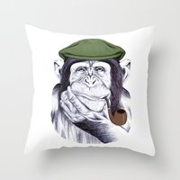 Wise Mr. Chimp Throw Pillow