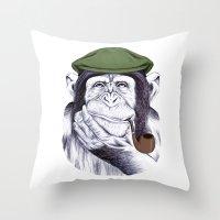 Wise Mr. Chimp Throw Pillow