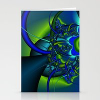 Blue  N Green Abstract F… Stationery Cards