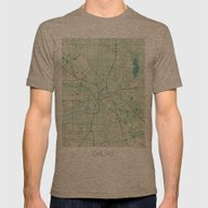 Dallas Map Blue Vintage Mens Fitted Tee Tri-Coffee SMALL