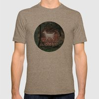 The white Deer Of Winter In Green Mens Fitted Tee Tri-Coffee SMALL