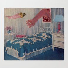 blue bed Canvas Print