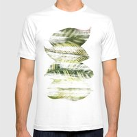 Brushed Leaves Mens Fitted Tee White SMALL