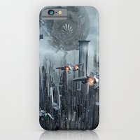 iPhone Cases featuring Sci-Fi City by Michael Lenehan