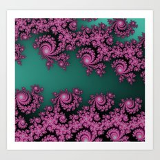 Fractal in Dark Pink and Green Art Print