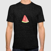 Watermelon Red Piece Mens Fitted Tee Tri-Black SMALL