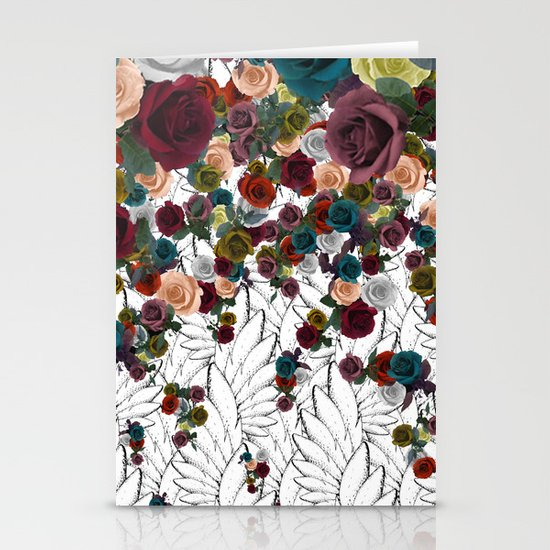 falling flowers Stationery Card