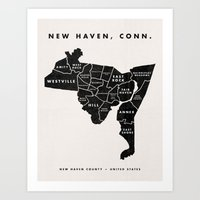 New Haven Map Art Print