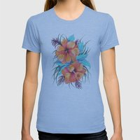 TROPICAL FLOWER {orange hibiscus}  Womens Fitted Tee Athletic Blue SMALL