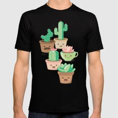 Kawaii Succulents SMALL Mens Fitted Tee Black