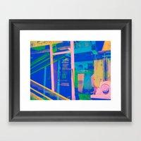 Industrial Abstract Blue… Framed Art Print