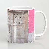 Grey Door on Pink Wall (Retro and Vintage Urban, architecture photography) Mug