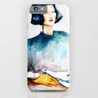 iPhone & iPod Case featuring Girl with Crocodile Skull by Rive Gauche Craft