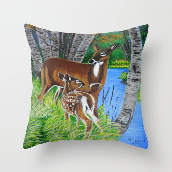 In the wooods  Throw Pillow