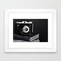 Old Camera, Old Books Framed Art Print