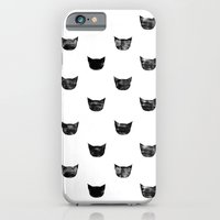 iPhone Cases featuring Black Cat by leah reena goren