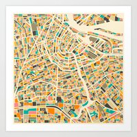 map Art Prints featuring Amsterdam Map by Jazzberry Blue