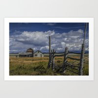 Color Photograph of the John Moulton Farm on Mormon Row Art Print