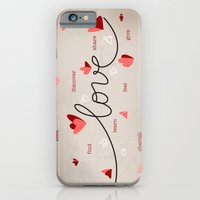 iPhone & iPod Case featuring Love, Butterfly Hearts & Text Unique Valentine by Ruxique