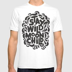 STAY WILD MOON CHILD SMALL Mens Fitted Tee White