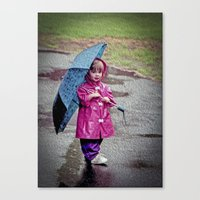 Just walking in the rain Canvas Print