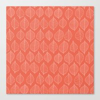 Coral Leaves Canvas Print