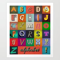 alphabet Art Prints featuring Alphabet by Nameless Shame
