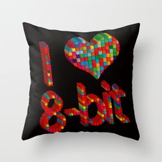i heart 8-bit Throw Pillow
