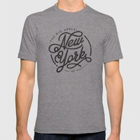 New York - White Mens Fitted Tee Tri-Grey SMALL