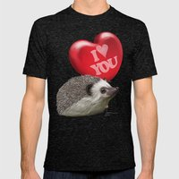 Hedgehog In Love With A … Mens Fitted Tee Tri-Black SMALL