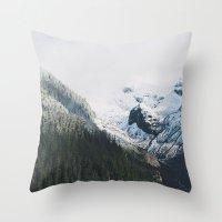 Mount Rainier Winter Valley Throw Pillow