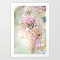 Cottage Roses Ice Cream Waffle Cone Decor Art Print